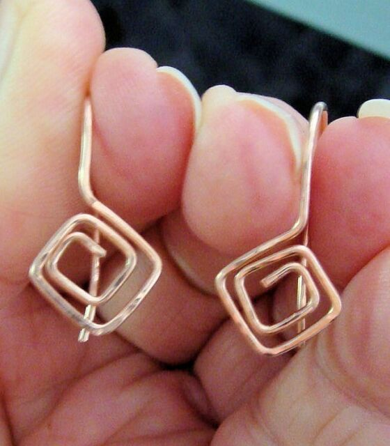 Squared Fancy Looped and Hammered INTERCHANGEABLE Earring Wires YG