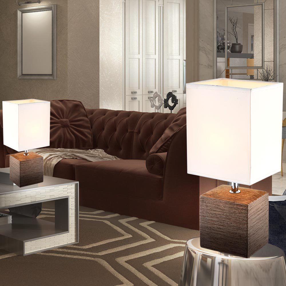 2x table lamps bedroom ceramic textile umbrella floor lights braun Weiß modern