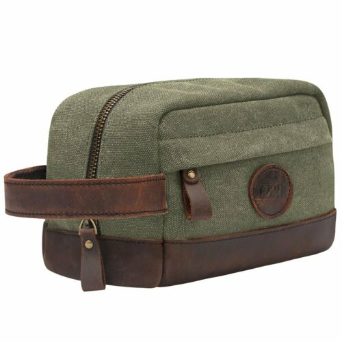 Men/'s Canvas Leather Travel Toiletry Bag Vintage Shaving Dopp kit Case Organizer
