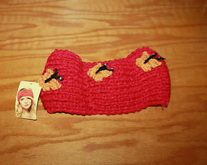 Image is loading Red-Crochet-Headband-Headwrap-Knitted-w-Butterflies-Ear- 0532dc49d6f
