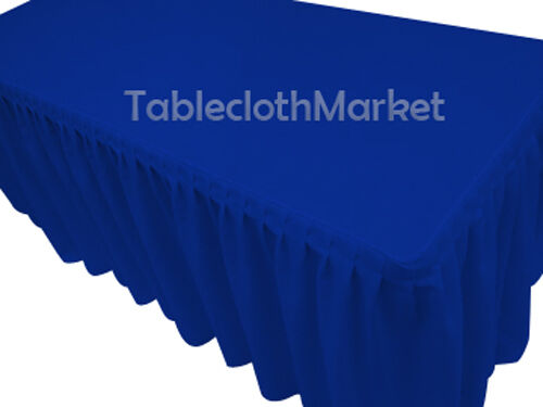 4' Fitted Table Skirt Cover w  Top Topper Single Pleated All Events  Royal Blau