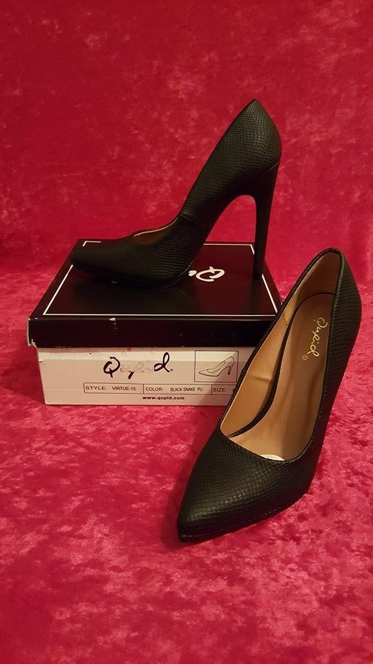 New Qupid Virtue-15 black snake high heels women shoes W/box with 3 sizes ava. W/box shoes 782c3e