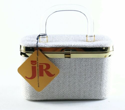 Vintage JR Julius Resnick White Woven Box Purse Ha