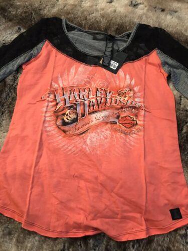 Nuevo-Harley Davidson Rosa Naranja y logotipo en negro Top-Tamaño Grande