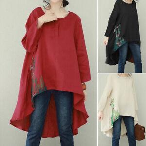 Mode-Femme-Coton-Col-Rond-Broderie-Manche-Longue-Irregulier-Haut-Shirt-Plus