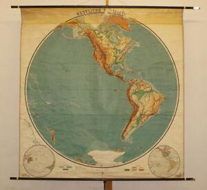 Schulwandkarte-Amerika-America-Planiglobe-vintage-map-Erdhaelfte-1914-180x187cm