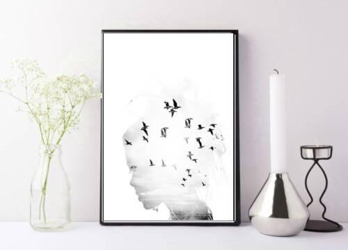 artwork birds beauty girl dreamy photography fashion print//poster