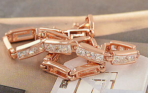 Homme Femme 1 rangée Simulated Diamond Tennis Bracelet 14k Blanc Or Plaqué 8 in environ 20.32 cm