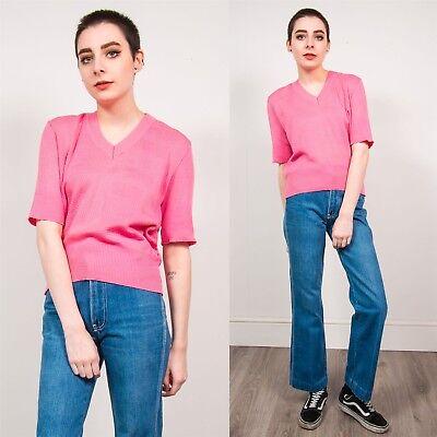 Laborioso Vintage Da Donna Rosa Chiaro Anni'70 Stile A Maglia T-shirt Girocollo Scollo A V Manica Corta 14-mostra Il Titolo Originale