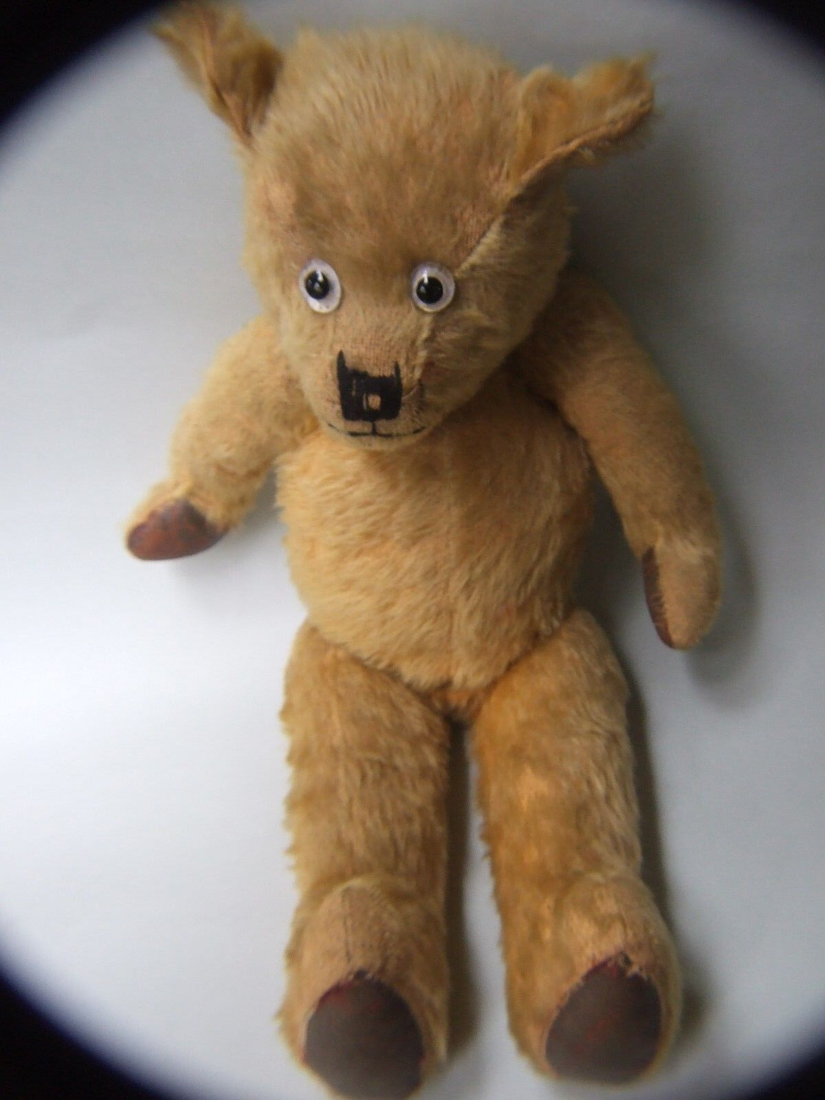 ANTIQUE  ENGLISH TEDDY BEAR STRAW FILLED 19'' GLASS EYES  oro MOHAIR  TOYS