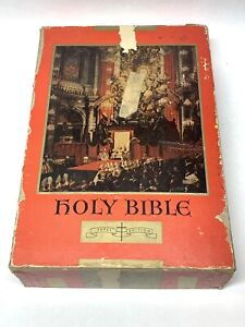 Vintage-CATHOLIC-HOLY-BIBLE-1951-Pope-Pius-XII-PAPAL-EDITION-Illustrated-In-BOX