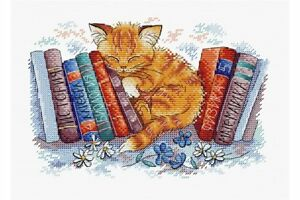 Cross-stitch-kit-In-the-Silent-place-cat-M-239