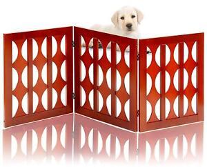 Folding-Solid-Wooden-Pet-Dog-Gate-Fence-Playpen-3-Panel-Free-Standing-Indoor