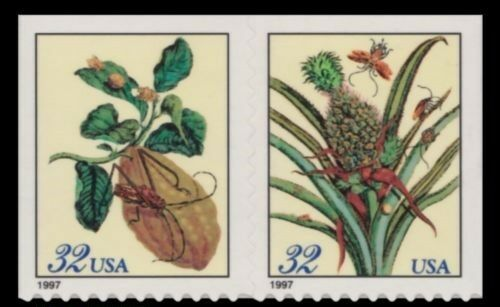 1997 32c Merian Botanical Prints, Pair Scott 3128-29 Mi