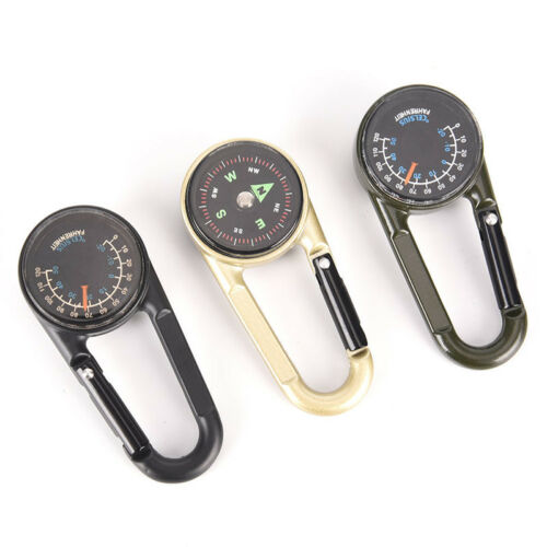 Double-sided Keychain Multifunctional Metal Carabiner Compass Thermometer TK