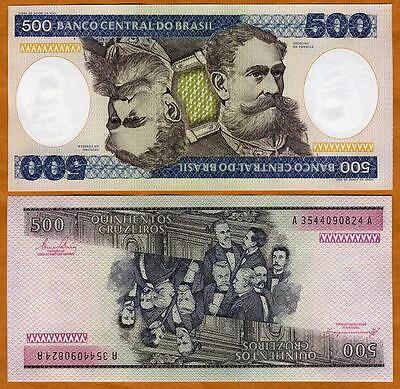 BRAZIL 500 CRUZEIROS P 200 AUNC ABOUT UNC W YELLOW TONE