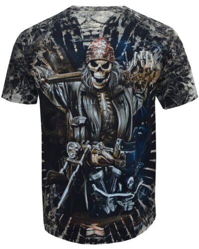 New Grim Reaper Skull Motorbike Rider Glow in the Dark Tye Dye T-Shirt M 3XL