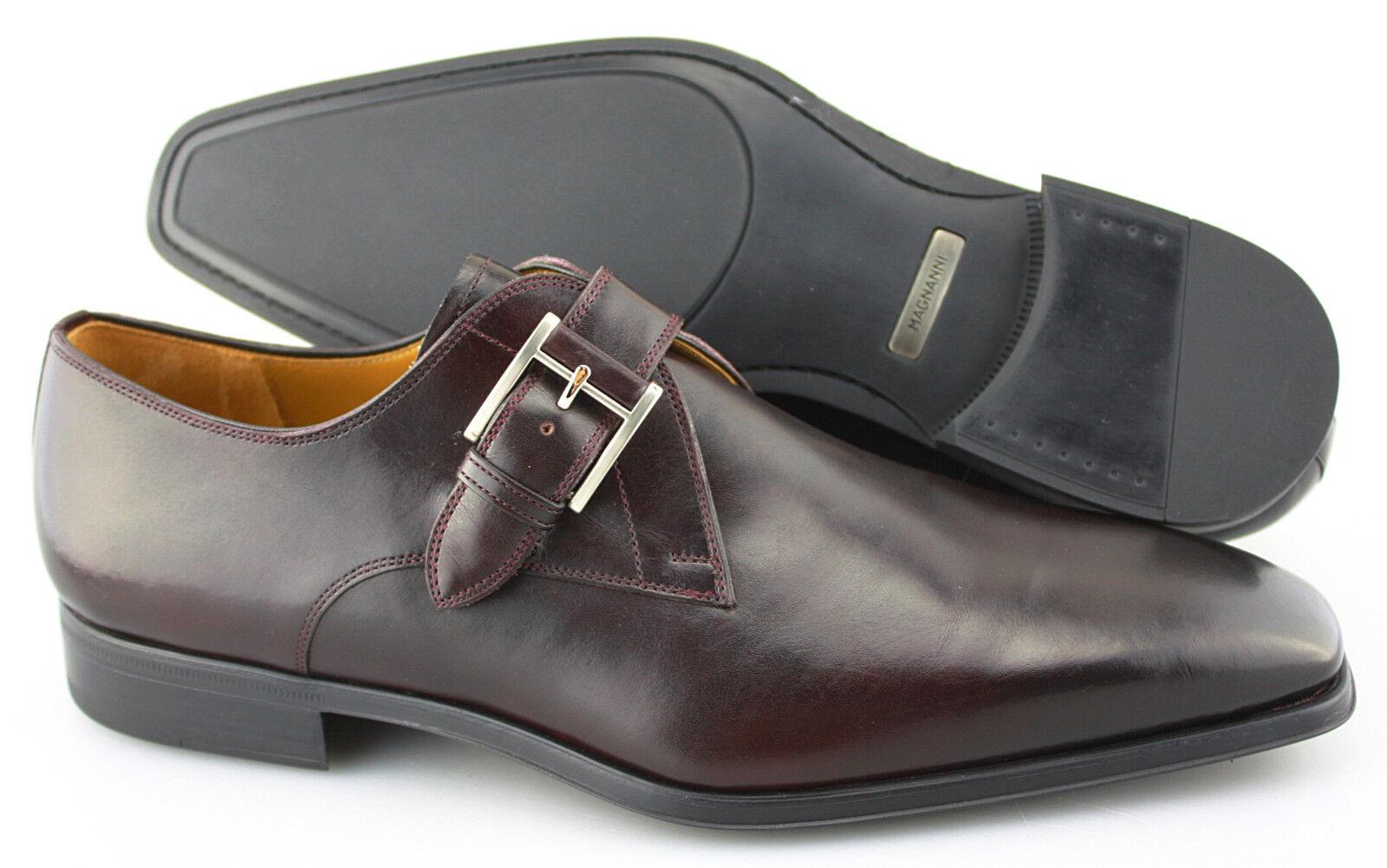 Men's MAGNANNI 'Hugo' Burgundy Leather Monk Strap Loafers Dimensione US 9.5 - D