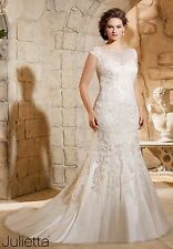 Mori Lee Wedding Gown #3188 Lace sequin illusion neckline Ivory size 20W