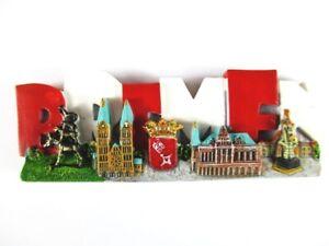 Bremen-Germany-Souvenir-Magnet-Poly-Rathaus-Stadtmusikanten-Roland
