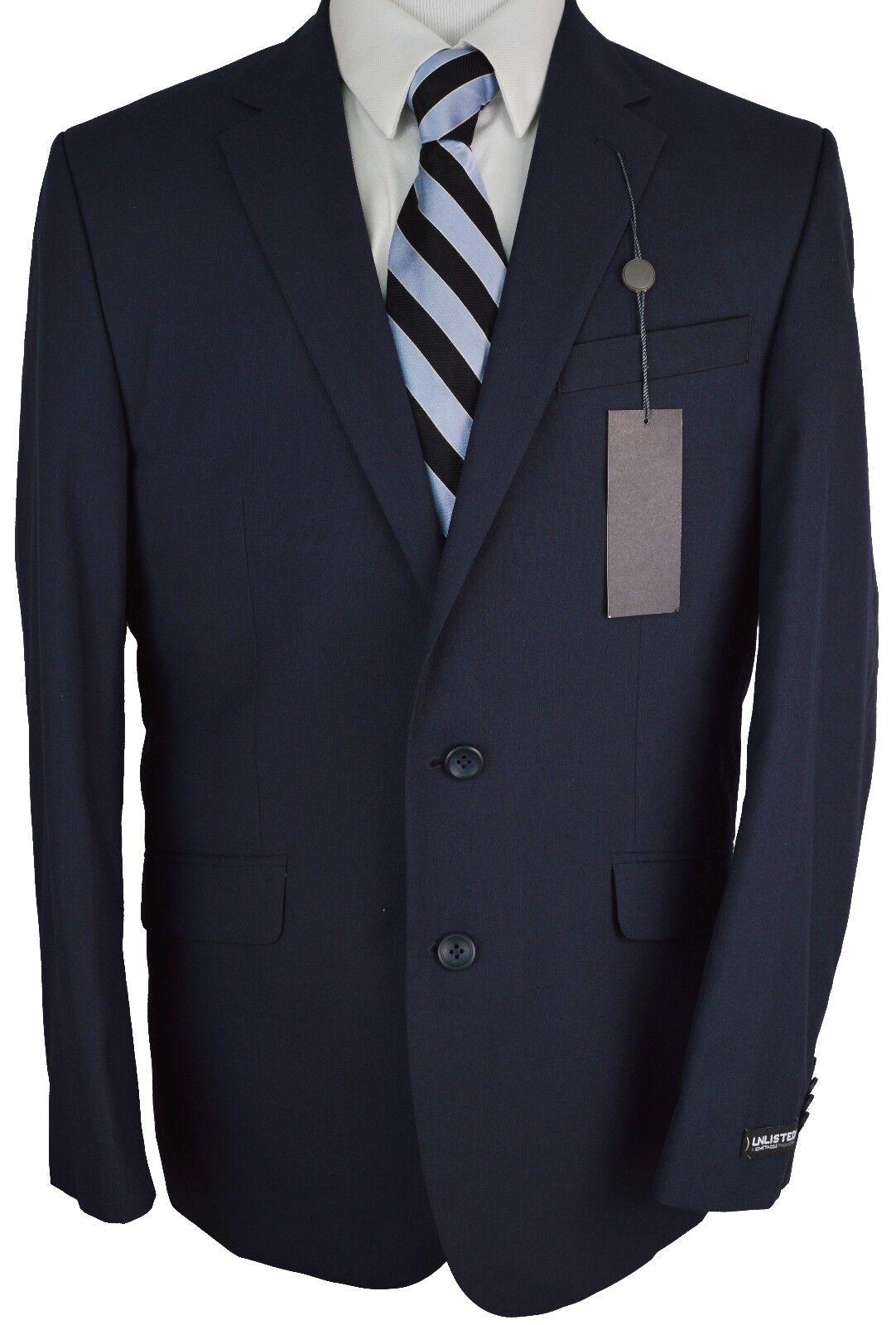 X19 NEW UNLISTED Solid Navy Blau Two Button Blazer 44 Regular 395
