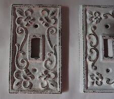 Cast iron single light switch plate shabby cottage fleur lis chic antique white