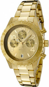 Invicta-Women-039-s-Specialty-Chronograph-50m-Gold-Tone-Stainless-Steel-Watch-1279