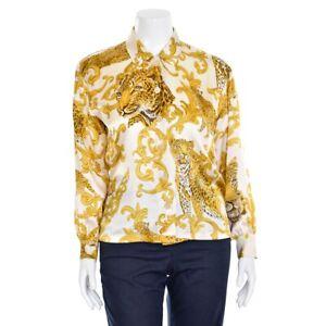 Vtg-Escada-Margaretha-Ley-Cream-amp-Gold-Cheetah-Print-Silk-Blouse-Shirt-Top-38-8