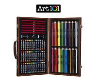 Sketch Drawing Art Set Painting Color Artist Kit Pencil Pastel Wood Case Box