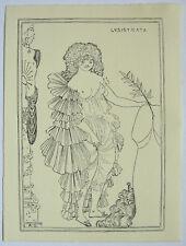 Aubrey Beardsley 1896 Pen & Ink drawing 'Lysistrata' fase 2 study - Provenance
