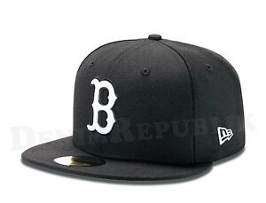 6e4d5d20488 New Era 59FIFTY BOSTON RED SOX Black   White MLB Baseball Cap fitted ...