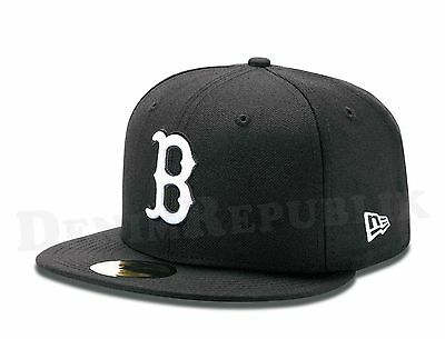 New Era 59FIFTY BOSTON RED SOX Black & White MLB Baseball Cap fitted 5950 Hat