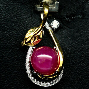 NATURAL-PINK-RUBY-amp-WHITE-CZ-PENDANT-925-STERLING-SILVER