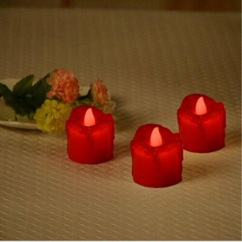 24//48PCS LED Church Pillar Candles Tea Lights Real Wax Flameless Wedding Party