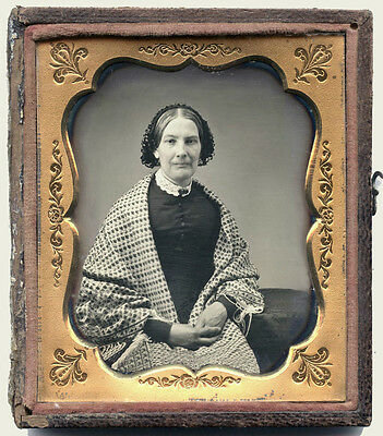 SIXTH PLATE DAGUERREOTYPE PHOTO PORTRAIT OF A WOMAN WITH HUGE TARTAN SHAWL PLAID