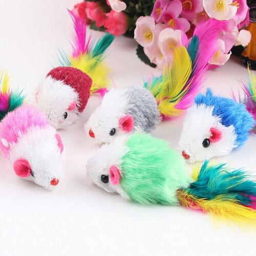 1//5//10x Fleece False Mouse Cat Toys Colorful Feather Playing Toys 5 cm*3cm KA