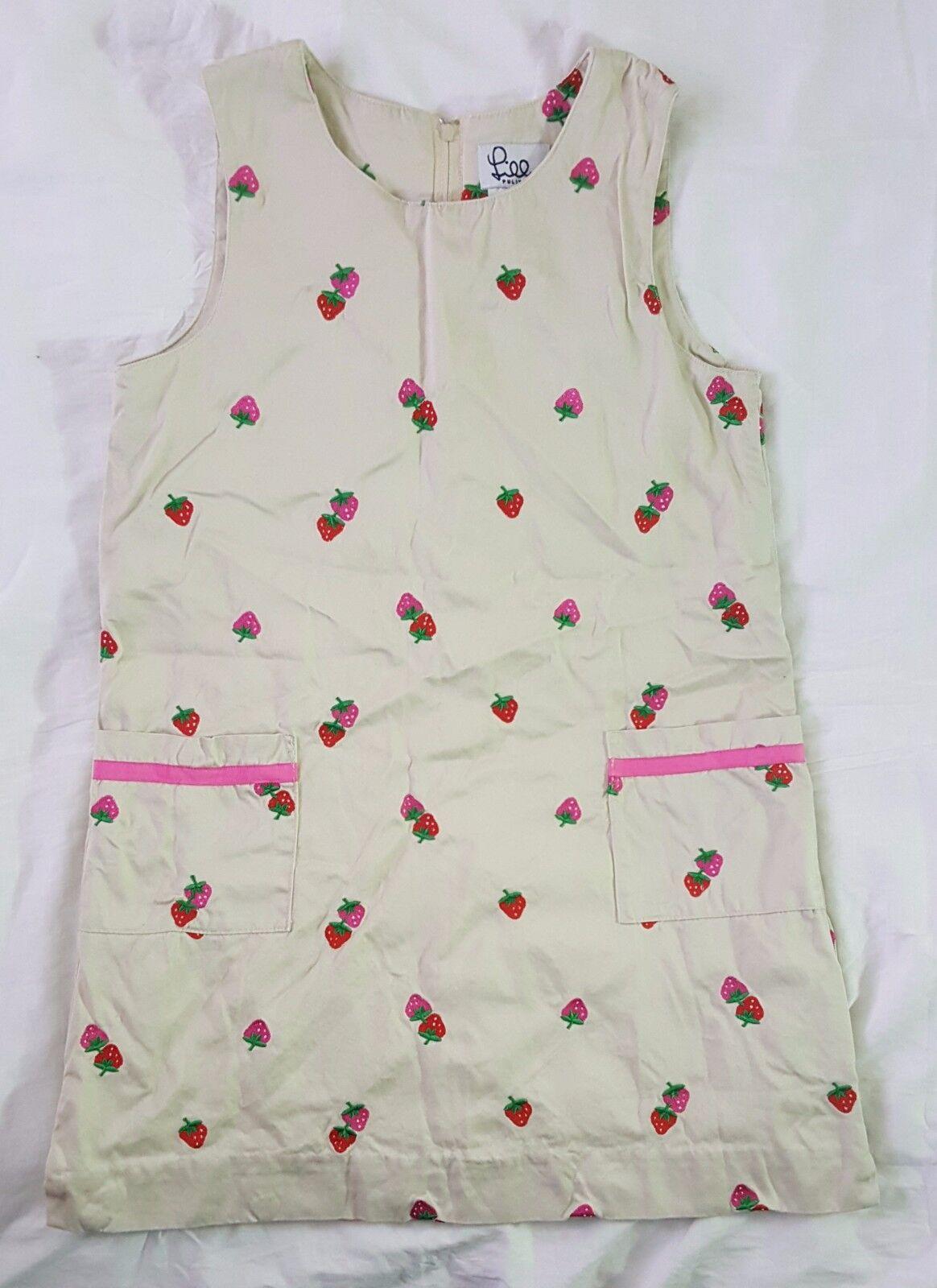 Vintage Lilly Pulitzer Beige Strawberry Embroidered  Sleeveless Mini Dress Sz 10