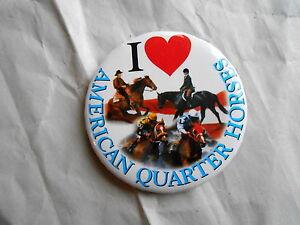 Vintage I Heart / Love American Quarter Horses Pinback Button