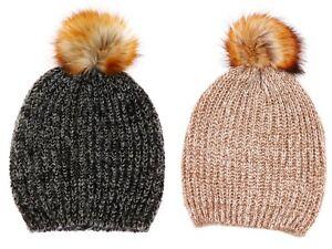 97df6ba23c9 Womens Luxury Chunky Knit Faux Fur Trim Large Pom Pom Hat ...
