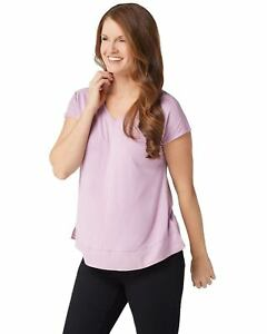 H-by-Halston-Womens-Extended-Shoulder-V-Neck-Top-with-Side-Slits-M-Lilac-A303178
