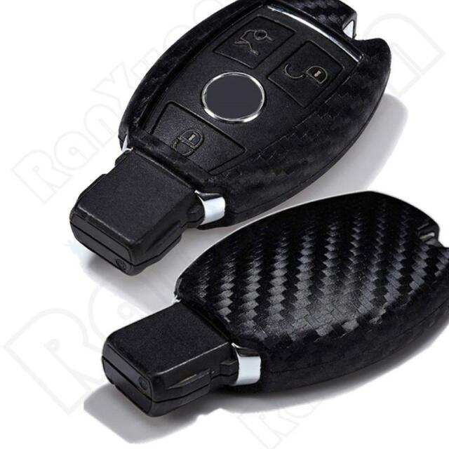 Red Pinalloy Real Carbon Fiber Remote Keyless Key Cover Case for Mercedes Benz