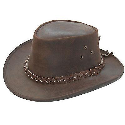 LEATHER COWBOY WESTERN AUSSIE STYLE  BUSH HAT BROWN  PULUP1