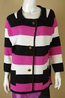Berek Black Pink White Gold Striped Jacket Xl Crystal Coat Cotton Metallic