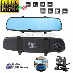4.3'' 1080P HD Dual Lens Car DVR Rearview Mirror Dash Cam Recorder Camera BSG
