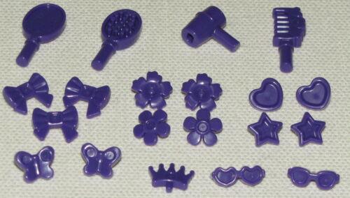 Lego New 20 Dark Purple Friends Accessory Hair Decorations Star Brush Comb More