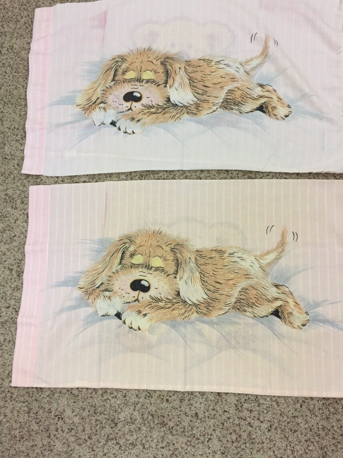 VTG Sue Hall Set (2) Pink Pillowcases 1990 Snatch The Dog Sleeping Double Sided