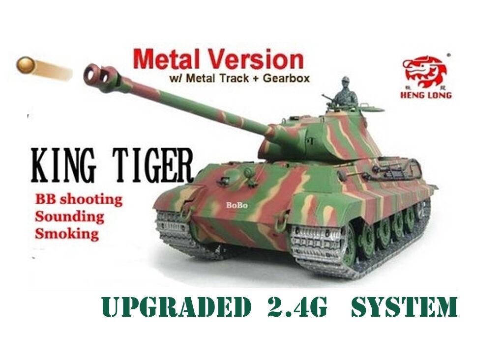 RC Carro Armato Heng Lungo Radio 2.4g Tiger King telecomando BB sparare SERBATOIO PRO