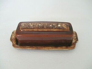 Vintage Hull Pottery Brown Drip Glazed Butter Dish USA Oven Proof