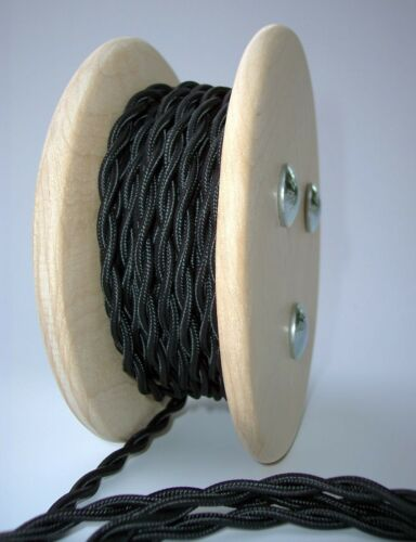 Antique Fan Rewire Black Cloth Covered Twisted Wire 25ft Roll Lamp Cord