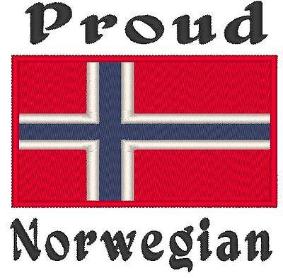 Proud Norwegian  Norway Flag  Baby Bodysuit Embroidered